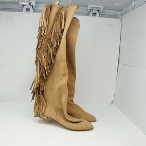 Zara Knee High Suede Fringe Boot 41